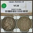 1868A Silver 5F France Napoleon 5 Francs NGC VF20 Vintage French Classic Coin