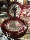 Set of 8 Indiana Glass Kings Crown Ruby Red Luncheon Plates 8 1/4