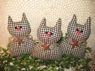 3 Black check fabric Cats Bowl Fillers Farmhouse Country Kitchen Home Decor
