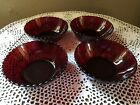 Vintage Anchor Hocking Royal Ruby Red Berry Dessert Bowls x 4