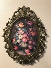 Vintage Bubble Glass Metal ( Brass?) Floral picture oval framed. Made In Italy