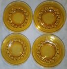 Vintage 50s Kings Crown Indiana Glass Set of 4 Amber Snack Plate 8 1/4