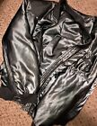 Satin Bomber Jacket Steel Gray Shiny Silky Hot Item Large Ma 1 Flight Sexy