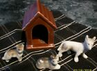 LOT OF 3  three  VINTAGE CERAMIC DOGS AND DOG HOUSE Made in Japan