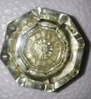 VINTAGE SINGLE 8 POINT OCTAGONAL GLASS and BRASS DOOR KNOB