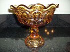 STARS AMBER LARGE PEDESTAL COMPOTE DISH REDUCED!