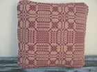 Antique Woven Coverlet Throw Pillow Sham in Deep Burgundy and Tan