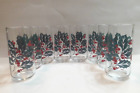 Vintage Indiana Glass Holly And Berries Christmas Drinking Glasses Set Of 8