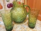 Vintage MCM ANCHOR HOCKING AVOCADO MILANO LIDO BUMPY BALL PITCHER