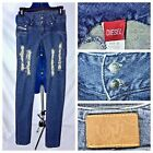 Diesel Womens Distressed Torn Jeans High Rise Super Skinny MOD Vintage 25x33