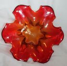 VINTAGE MID CENTURY 1950'S ORANGE GLASS TRAY CANDY NUT MISC KNICK KNACK DISH