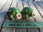 Vintage Salt  Pepper Shakers Ceramic Round Cactus with Flower Japan