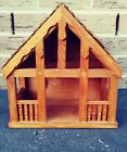 Nativity Wood Wooden Manger Stable Creche Rustic Handmade 12 x 11 Signed
