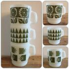 VTG Fire King Green Pattern Stacking Mugs Flowers Triangles Atomic Starbursts