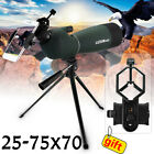 25 75X70 Zoom Monocular Telescope BAK4 Waterproof Spotting Scope Tripod Adapter