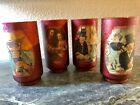Set Vintage 1970s Red Sugar Artist Theme Glass Tumblers Water Manet Rembrandt