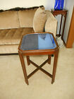 Vintage Art Deco Cobalt Blue Detailed Mirror Glass End Lamp Table
