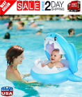 Baby Pool Float Swimming Float with Canopy Inflatable Floatie Swim Ring for Kids