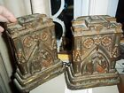 Old Antique Nativity Mary Joseph Painted Gild Gilt Bookends Amazing Early 1900s