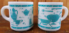 Hazel Atlas Glass Kitchen Aids Utensil Milk White Turquoise Blue Coffee Cup Mugs