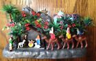 Vintage Plastic Nativity Hong Kong Bethlehem Wise Men Trees 1974