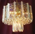 Vintage Mid Century Modern Acrylic Lucite Prisms Glass Panel Tiered Chandelier