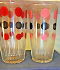 Pink/Red Polka Dot Sour Cream Pint 16 Glass Ridge Base