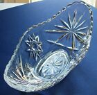 Stunning STAR OF DAVID Crystal Clear Elongated GLASS Celery Dish Scalloped Rim