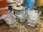 Set of 6 Prescut Punch Bowl Cups Clear Pressed Glass Anchor Hocking