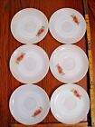 FreeShip/48: Set of 6 Fire King Red Rose SAUCERS, Roses, NEAR MINT Very Nice! 6