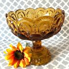 Vintage LE SMITH Amber Moon and Stars Scalloped Edge Pedestal Dish
