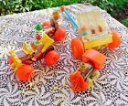 FOUR VINTAGE 1960s FISHER PRICE PULL TOYS HAPPY HOPPERS JALOPY CHUG TRACTOR