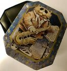 Cat Playing Saxophone Sunglasses Sneakers Urn Box Vintage Tin Container