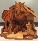 Nativity Manger Scene Handmade Olive Wood Holy Land with Music Box