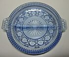 Pretty BLUE Indiana Glass DIVIDED RELISH TRAY/SERVING DISH with Handles ~ EUC