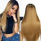 Long Synthetic Straight Long Wigs Ombre Brown Gold Blonde Linen Fashion Hair USA