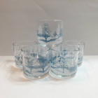 Vintage Anchor Hocking Winter Wonderland Blue And White Clear Glass Mugs
