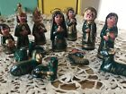 Mexican Folk Art Christmas Nativity Set Black Emerald Gold with Gold 13 pc Set