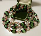 Huge Christmas Green White Black Coral Crystal Molded Caps Glass 53 Necklace