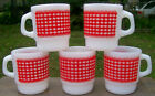 lot of 5 FIRE KING Red GINGHAM QUILTED CHECKERBOARD MUGS Excellent Condition vtg