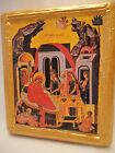 Nativity of Theotokos Mary Saint Anne Byzantine Greek Orthodox Icon on Aged Wood