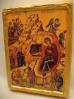 Nativity Jesus Christ Rare Greek Orthodox Icon on Aged Wood Block 35cm Thick
