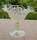 Exquisite Vintage Fenton Clear Glass Diamond Ruffled Pedestal Candy Dish