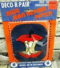 VTG Blue Jean Patch Large Iron On Deco R Pair Embroidered Apple Core Cute NOS