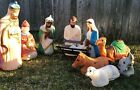 VTG Empire Plastic 10 Pieces Blow Mold Outdoor Light Up Nativity Set Xmas Decor