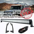 52Inch LED Light Bar Combo Offroad +Mounting Bracket For Jeep Wrangler YJ 87-95