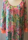 Lilly Pulitzer Getaway Coverup in Multi Fan Sea Pants Size Large XL Fringe New