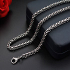 Man Women Stainless Steel 2mm 3mm 4mm 5mm Silver Wheat Braided Chain Necklace