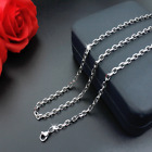 Women Man 316L Stainless Steel 2mm 3mm 4mm 5mm Silver Cut Rolo Chain Necklace