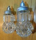 Salt and Pepper Shaker Set Clear Indiana Crystal Glass Diamond Point
